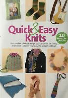 KNITTING PATTERN 10 Quick & Easy Knits Scarf Socks Tie Guitar Strap Mittens Bag