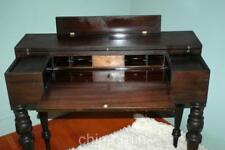 Vintage Antique Flip Top Mahogany Writing Desk Secretary Curly Maple Accents