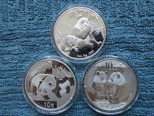 2007-2008-2009 Chinese Silver Panda 10 Yuan BU (Set of Three 1 OZ Coins)