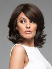 Damenperücke Mittellang Dunkelbraun Gewellt Haarteil Wigs Zweithaar NEU Perücken