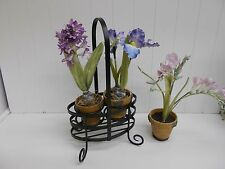 Kw-339 clay pots on wrought iron stand with artificial flowers