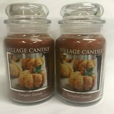 Village Candle Lot (2) PUMPKIN DONUTS Large Jar Candle Two Wicks