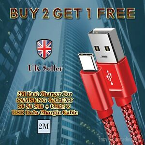 2M Fast Charger For Samsung Galaxy S8 S9 S10+ Type C USB-C Data Charging Cable
