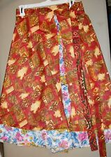 """New: ladies' """"one size fits most"""" adjustable wrap skirt, made from vintage silk*"""