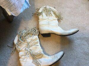Vintage Boots Fringe White Leather Women Sz 6.5 Western Mid Calf Cowboy