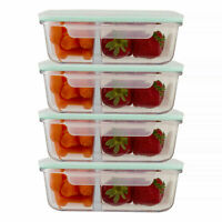 Glass 35 Oz Food Containers 2 Compartment Meal Prep Storage Leak Proof Lid