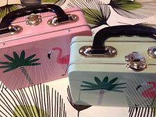 fab retro rockabilly flamingo tin metal lunch box handbag cool gift