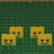 Lego Paquete De 6 Yellow Brick 1 x 2 (3004). con cara de diseño nuevo.