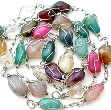 Caged Gemstone Bead Necklace Multi Color Amethyst Pink Green Brown Banded Agate