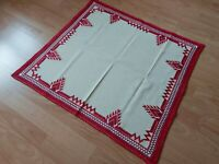 ANTIQUE Beautiful Vintage Linen Tablecloth Handmade Embroidery Rectangular