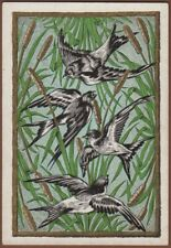 Playing Cards 1 Single Card Old Antique WOOLLEY Wide Square Corner FLYING BIRDS