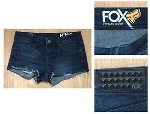 FOX RACING STEALTH SHORT Women's Low Rise Cotton Blend Denim Shorts sz 0 24W