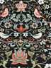 William Birds Floral Carpet Design Black Drapery Upholstery Fabric by the yard