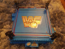 VINTAGE 1989 WWF BLUE WRESTLING RING WITH ONE FLAG FROM HASBRO INC. WWE RETRO