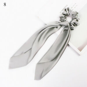 1 PC Gray DIY Bow Satin Long Ribbon Ponytail Scarf Hair Tie Elastic Hair Rope