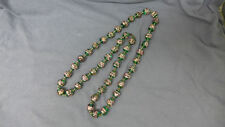 Vintage Venetian Green and Pink Foil Glass Bead Necklace