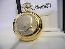 Real Coin Pocket Watch New As-Is Colibri Goldtone John F Kennedy Bicentennial