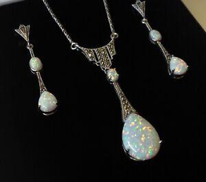 1920s style Sterling Silver Fire Opal Marcasite Peardrop Necklace & Earrings set