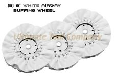 """3pc 8"""" Airway Buffing Wheel 5/8""""  16 PLY Renegade Products Polishing DIA White"""