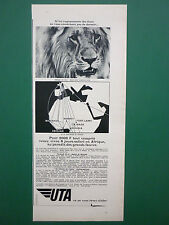 10/1967 PUB COMPAGNIE AERIENNE UTA AIRLINE LION AFRIQUE ORIGINAL FRENCH AD