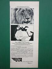10/1967 PUB COMPAGNIE AERIENNE UTA AIRLINE LION AFRIQUE ORIGINAL FRENCH ADVERT