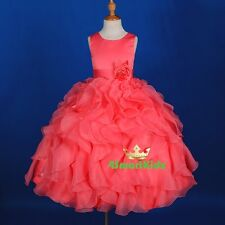 Satin Scoop Formal Occasion Dress Wedding Flower Girl Party Coral Size 10 #234