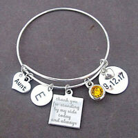 Aunt Bracelet, Personalized Aunt Gift, Aunt Bangle, Thank You Aunt,Wedding Gift