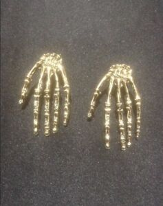 Vintage Style Gold Skeleton Hand Earrings. Halloween Skeleton Earrings