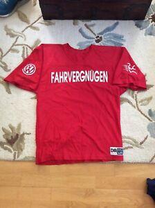 """Vintage Volkswagen VW Fahrvergnugen """"O2BNAVW"""" RED Jersey Shirt Mens Large L"""
