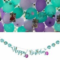 Mermaid Seashell Happy Birthday Giltter Banner Bunting Garland Party Deco New