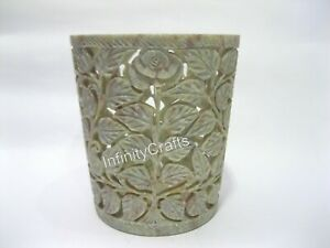 6 Inches Marble Flower Pot with Filigree Work Luxurious Look Table Master Piece