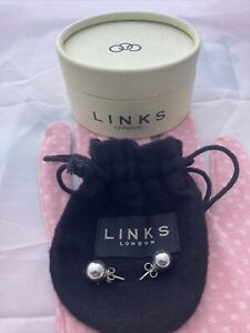 LINKS OF LONDON 925 SILVER LARGE ROUND BALL STUD EARRINGS - 3g Weight & Cleaned