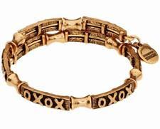 Alex and Ani V18W02RG XO Wrap Rafaelian Gold Charm Bangle Bracelet