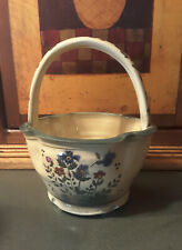 Aldrich Valley Pottery Basket Wildflower Bowl w Handle~Lovely Design!