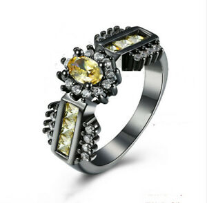 18k Black Gold Plated Oval Cut Simulated Yellow Sapphire Ring SZ7