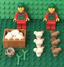 Lego City Chicken Farmer Mini Figures With White Eggs,crate,bucket,plants leaves