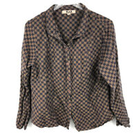 FLAX Shirt Top M Checked Plaid 100% Linen Button Down Textured Lagenlook Womens