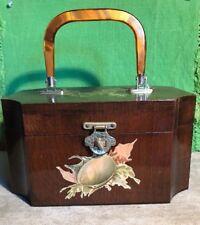 Vintage Retro Wood Box Purse Decoupage Seashells Ocean Plants Decal
