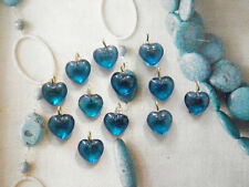 RARE 10 PC LOT VINTAGE Sapphire Blue Glass 10mm Heart Charms #727