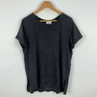 Seed Heritage Womens Shirt Top Medium Grey Short Sleeve Round Neck Acid Wash
