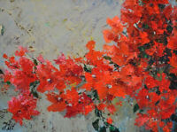 "Bougainvillea. Original framed oil on paper 11""x14"" painting from artist."