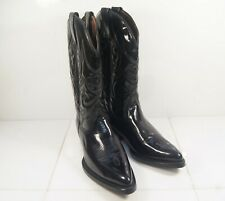 Marlboro Classics Made in Italy Black Patent Leather Cowboy / Western Boots 40 M