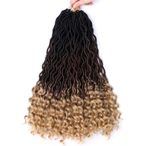 Curly Goddess Faux Locs Crochet Twist Braids Hair Extensions Ombre Dreadlock 18""
