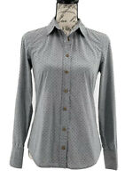 J. Crew Blouse Women's Gray & Blue Polka Dot Long Sleeve Button Up Top Size 0 XS