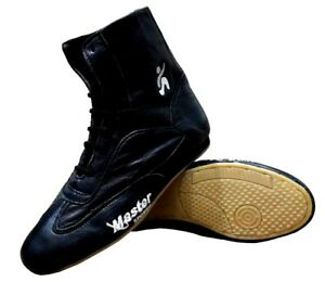 Master Sports Boxing Shoes Black Leather Tiger Boot Box Light Weight Training
