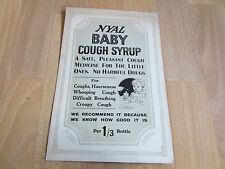 NYAL Baby Cough Syrup Original c 1920's Chemists Advertising Showcard