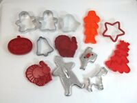 Christmas Holiday Fall Cookie Cutters Lot of 13 Plastic Metal