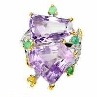 Handmade Purple Amethyst 17.14ct Emerald Natural 925 Sterling Silver Ring Sz 8.5