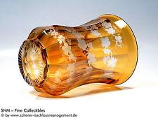 RANFT BECHER POKAL GLAS Böhmen Klassizismus Biedermeier Vase bernstein graviert
