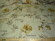 ~2 YDS~FLOWERS WRITING ~LINEN UPHOLSTERY FABRIC FOR LESS~